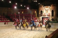 Knights on their horses at Medieval Times dinner show