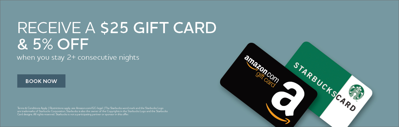 Receive a $25 gift card and 5% off