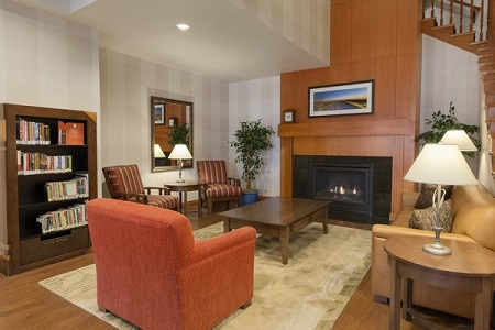 Calgary hotel lobby with fireplace