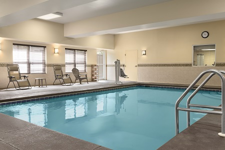 Rectangular indoor pool at our Dothan hotel