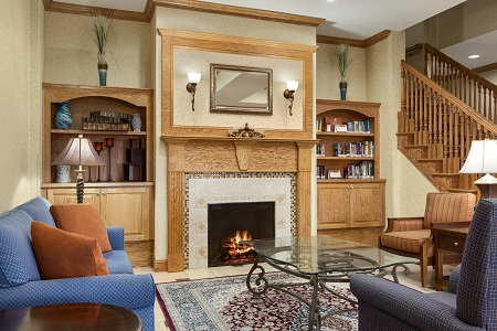 Lobby with fireplace and seating