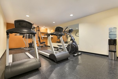 Treadmills and exercise bike in Montgomery hotel's fitness center