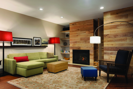 Welcoming lobby with fireplace and comfortable seating