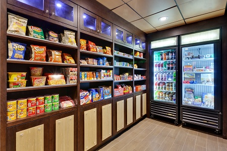 Snacks and drinks in 24-hour hotel pantry