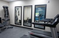Fitness centre with two treadmills, a weights machine and three full-length mirrors
