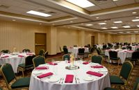 Round table arrangements in hotel meeting space