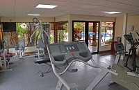 Fitness center with treadmill and weights