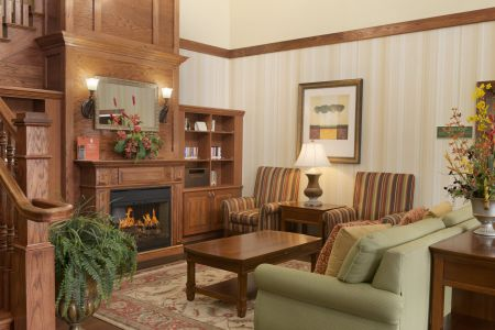 Hotel's welcoming lobby with fireplace