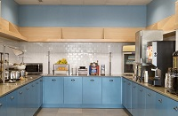 Blue cabinets in the breakfast area