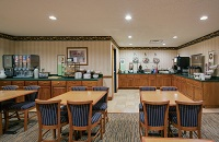 Jacksonville hotel's dining area with a free, hot breakfast