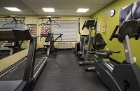 Fitness center equipment set against a lime green wall