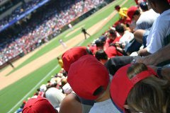 Fans in the stands watching a baseball game