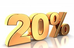 Golden 20 percent logo