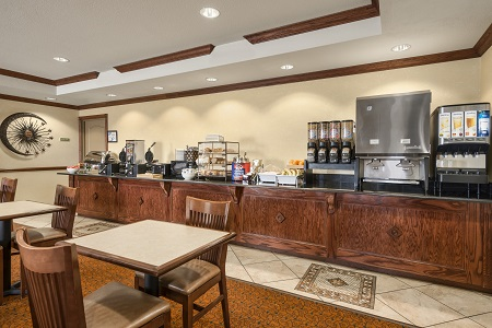 Dining area with cereal, bagels and more in Seffner