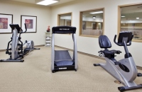 Elliptical, treadmill and exercise bike in Columbus hotel's fitness center
