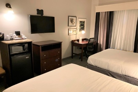 Hotel room with two queen beds, a mounted flat-screen TV, a microwave and a refrigerator
