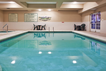 Heated indoor pool and hot tub