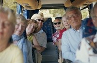 Traveling tour group on a bus