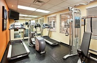 Cardio machines and a multi-gym in the fitness center