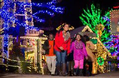 Family admiring the colorful lights at Stone Mountain Park