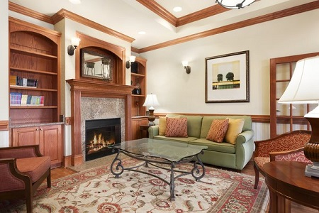Welcoming hotel lobby with a fireplace and bookshelves