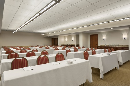 Meeting room with rows of tables and chairs in Atlanta