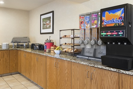 Breakfast area at hotel with hot and cold options
