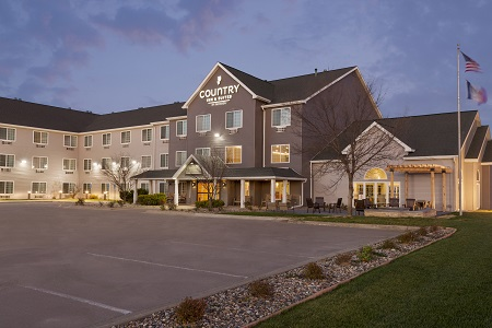 Exterior of accommodations in Ames, Iowa with fire pit
