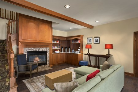 Lobby with fireplace and complimentary coffee