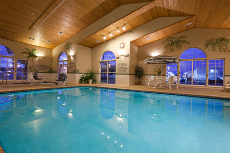 Indoor pool and hot tub area with palm trees on the walls
