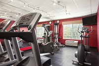Hotel's fitness center with treadmills in Clinton, IA