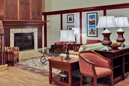 Clive hotel lobby with fireplace