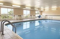 Sparkling indoor pool at our hotel in Davenport, IA