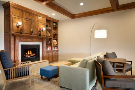 Spacious lobby with fireplace and seating in Meridian