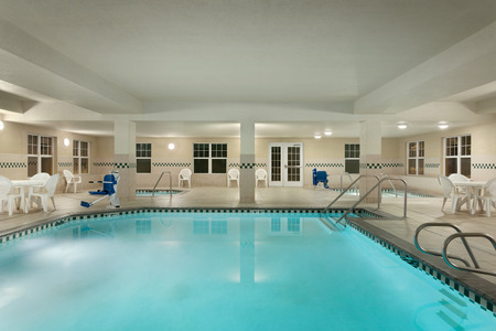 Indoor pool area and hot tub