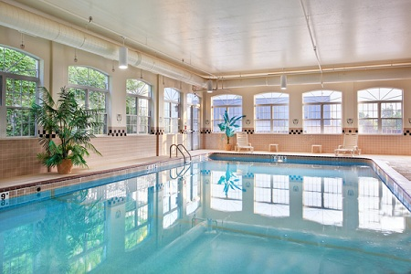 Spacious indoor pool with natural lighting