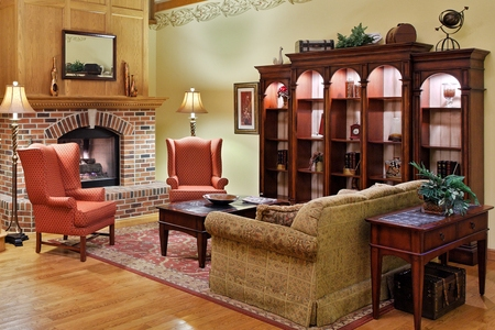 Freeport hotel's welcoming lobby with a fireplace