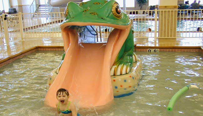 Wading pool and froggy slide
