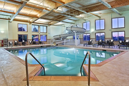 Indoor pool and waterslide at Galena hotel