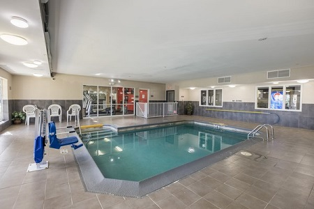 Indoor pool with accessible chair feature