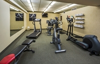 Naperville hotel's fitness center with treadmill, elliptical and bike