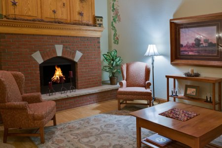 Hotel in Stockton with an inviting lobby fireplace