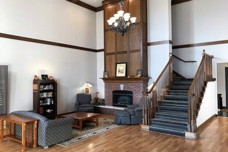 Lobby with a fireplace, a sofa, armchairs and a library
