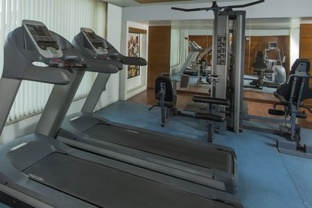 Two treadmills and exercise machines in the fitness room
