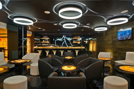 Stylish lounge in Bengaluru hotel