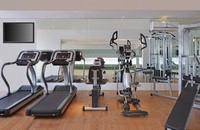 Fitness centre with treadmills and weightlifting equipment