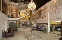 Contemporary hotel lobby with crystal chandelier