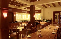 International restaurant with warm wood accents