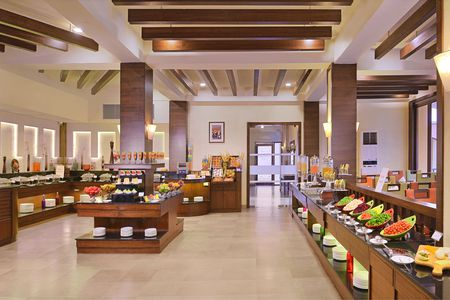 On-site international restaurant with large buffet spread