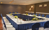 Blue and white meeting setup in our hotel's event venue